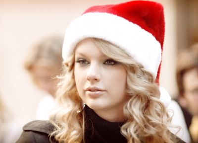 blondes, women, Taylor Swift, celebrity, singers, curly hair, Santa Claus hat - random desktop wallpaper