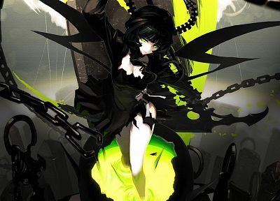 skulls, wings, dress, Black Rock Shooter, Dead Master, horns, green eyes, chains, anime girls - related desktop wallpaper