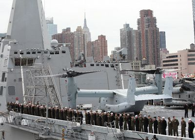 soldiers, aircraft, military, ships, giant, New York City, vehicles, V-22 Osprey - related desktop wallpaper