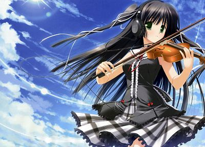 headphones, green eyes, violins, instruments, anime girls, black hair, skies, bare shoulders - related desktop wallpaper