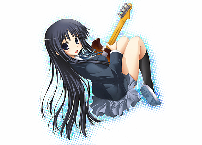 K-ON!, school uniforms, guitars, Akiyama Mio, simple background, anime girls, knee socks - related desktop wallpaper