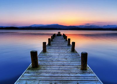 water, sunset, landscapes, England, hills, piers, calm, lakes - related desktop wallpaper