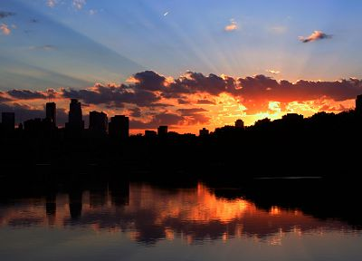 sunset, cityscapes, architecture, silhouettes, rivers, Minneapolis - desktop wallpaper