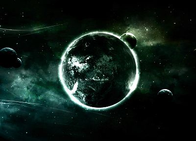 green, outer space, planets - related desktop wallpaper