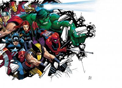 Hulk (comic character), Iron Man, Thor, Spider-Man, Captain America, Wolverine, Marvel Comics - related desktop wallpaper