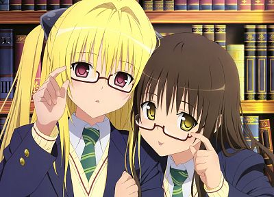 brunettes, blondes, school uniforms, schoolgirls, tie, glasses, To Love Ru, Golden Darkness, books, red eyes, short hair, yellow eyes, Yuuki Mikan, meganekko, purple eyes, anime girls - random desktop wallpaper
