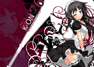 brunettes, K-ON!, maids, long hair, Akiyama Mio - random desktop wallpaper