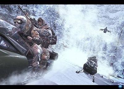 snow, trees, helicopters, forests, storm, Call of Duty, goggles, camouflage, spetsnaz, Call of Duty: Modern Warfare 2, ACOG, Russians, ak47, snowmobiles - related desktop wallpaper