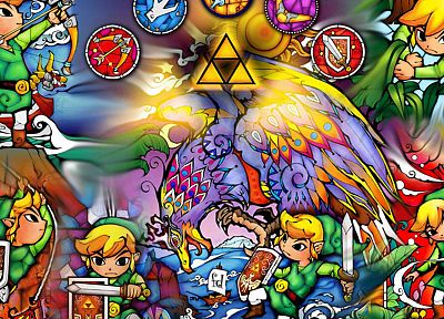 video games, Link, triforce, The Legend of Zelda - duplicate desktop wallpaper