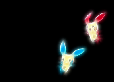 Pokemon, black background, Minun - desktop wallpaper