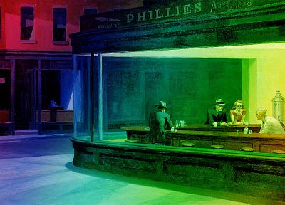 multicolor, Edward Hopper, Nighthawks At The Diner - desktop wallpaper