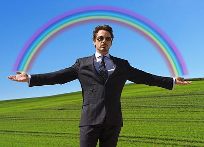 rainbows, Tony Stark, Robert Downey Jr - desktop wallpaper