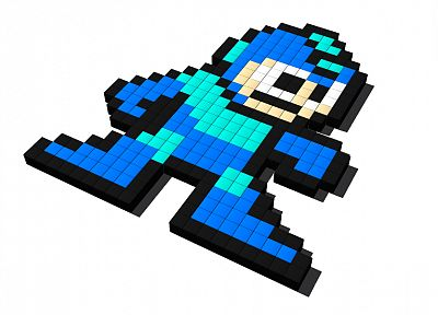 Mega Man, pixel art - desktop wallpaper