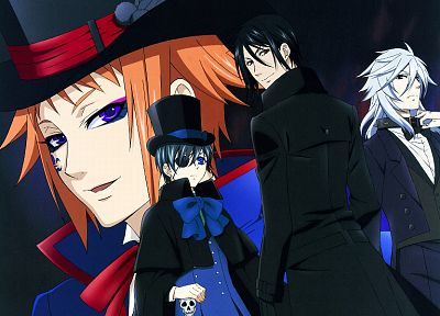 brunettes, eyepatch, Kuroshitsuji, Ciel Phantomhive, Sebastian Michaelis, anime, anime boys, white hair, Drocell Caines - related desktop wallpaper