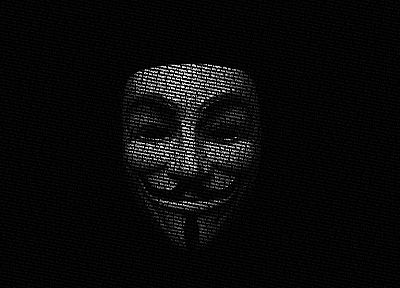 Anonymous, movies, legion, Guy Fawkes, V for Vendetta, typographic portrait - related desktop wallpaper