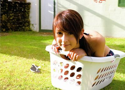 women, Leah Dizon, grass, Asians, baskets, flip flops - random desktop wallpaper