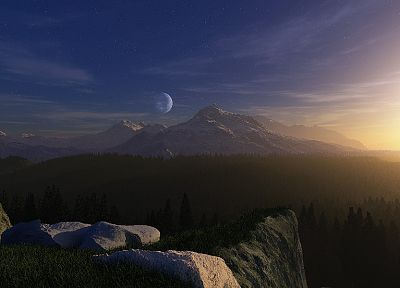 mountains, landscapes, trees, forests, Moon, digital art - related desktop wallpaper