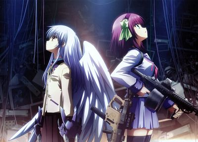 wings, computers, Angel Beats!, vectors, school uniforms, destruction, green eyes, pink hair, yellow eyes, Tachibana Kanade, anime, Nakamura Yuri, white hair, M4A1, anime girls, swords, ACOG, holographic, screens, foregrip - related desktop wallpaper