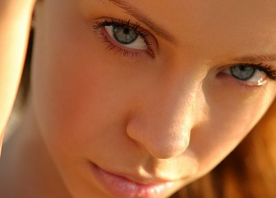 blondes, women, close-up, blue eyes, faces, Natasha S - desktop wallpaper