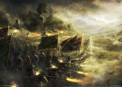 soldiers, video games, war, flags, Scotland, battles, artwork, Radojavor - desktop wallpaper