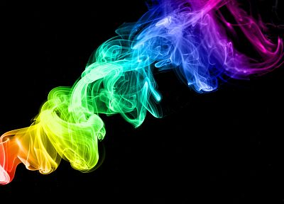 multicolor, smoke, black background - random desktop wallpaper