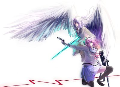 Angel Beats!, Tachibana Kanade, Nakamura Yuri, anime girls, white background - desktop wallpaper