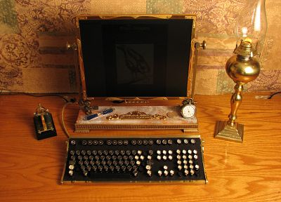 computers, steampunk, keyboards, technology - related desktop wallpaper