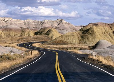 landscapes, national, roads, South Dakota, rock formations - related desktop wallpaper