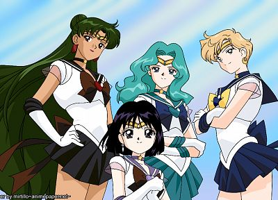 Sailor Uranus, Sailor Neptune, Sailor Pluto, anime girls, sailor uniforms, Sailor Saturn, Bishoujo Senshi Sailor Moon - random desktop wallpaper