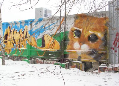 cats, animals, Russia, street art, Puss in Boots - desktop wallpaper