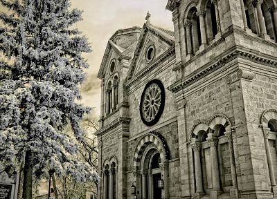 snow, trees, architecture, buildings, cathedrals - related desktop wallpaper