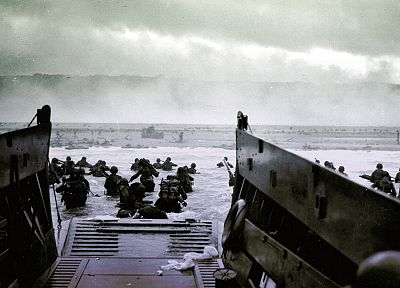 soldiers, Normandy, US Army, World War II, D-Day, historic, disembarking, sea - random desktop wallpaper