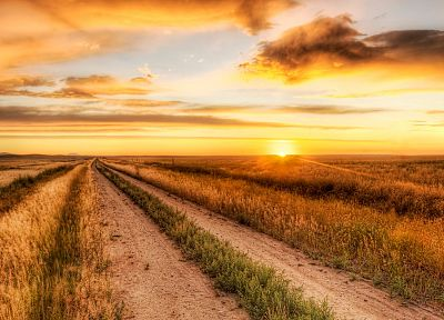 sunrise, fields, dirt roads, skies - desktop wallpaper
