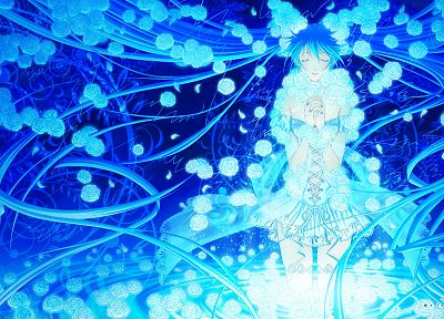 women, blue, Vocaloid, Hatsune Miku, glowing, twintails - random desktop wallpaper