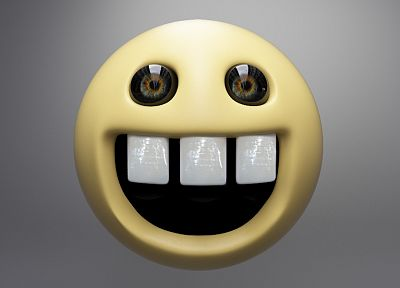 smiley face, smiling, 3D - random desktop wallpaper