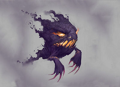 creepy, Pokemon, Haunter, ghosts, digital art, realistic, realism - desktop wallpaper