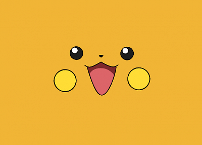 Pokemon, yellow, Raichu, anime, faces, simple - desktop wallpaper