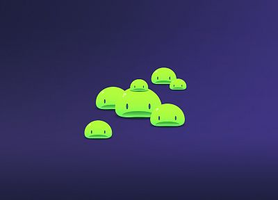 minimalistic, digital art, simple background, poring, slime - desktop wallpaper