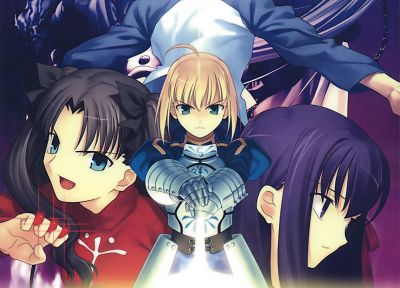 Fate/Stay Night, Tohsaka Rin, Emiya Shirou, Saber, Matou Sakura, Fate series - desktop wallpaper