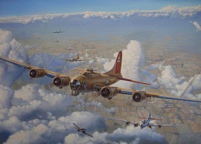 aircraft, bomber, World War II, artwork, vehicles - related desktop wallpaper