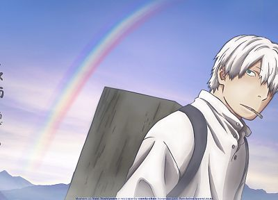 rainbows, Mushishi, Ginko, white hair, backpacks - random desktop wallpaper