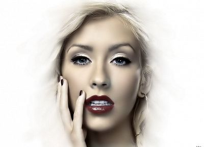 blondes, women, Christina Aguilera, faces - desktop wallpaper