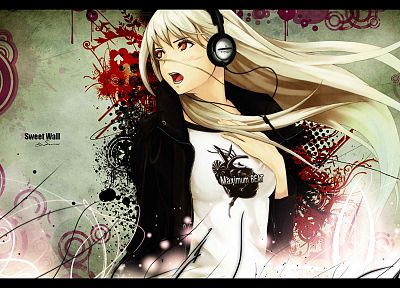 headphones, anime - desktop wallpaper