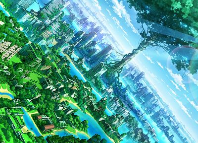 water, fantasy, clouds, Tokyo, trees, cityscapes, post-apocalyptic, lens flare, sunlight, scenic, Ivy, abandoned, vines, TokyoGenso - related desktop wallpaper