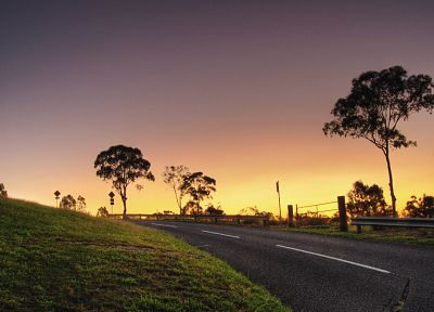 sunset, landscapes, nature, roads - related desktop wallpaper