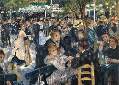 women, paintings, men, France, crowd, Auguste Renoir - random desktop wallpaper