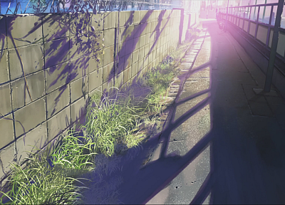 wall, Makoto Shinkai, sunlight, scenic, 5 Centimeters Per Second, artwork, anime - related desktop wallpaper