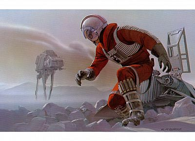 Star Wars, Luke Skywalker, Hoth, Snow Speeder, Ralph McQuarrie - random desktop wallpaper
