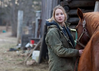 blondes, women, actress, animals, horses, Jennifer Lawrence, Winters Bone, girls with horses - desktop wallpaper