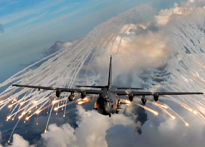aircraft, C-130 Hercules, flares - related desktop wallpaper